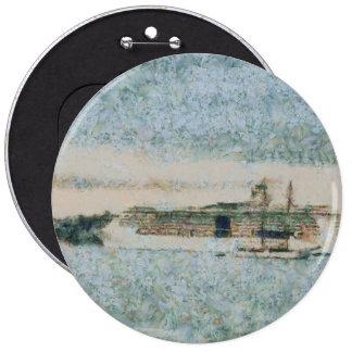 Barco de cruceros listo para el viaje pin redondo 15 cm