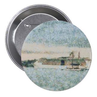 Barco de cruceros listo para el viaje pin redondo 7 cm