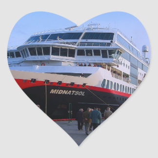 Barco de cruceros noruego pegatina de corazón