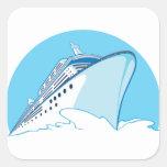 Barco de cruceros pegatina cuadrada