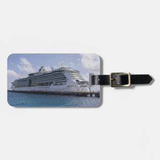 Barco de cruceros tropical etiquetas de equipaje