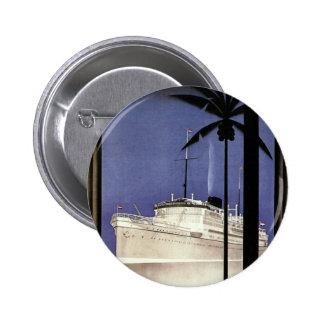 Barco de cruceros y palmeras tropicales del viaje pin redondo de 2 pulgadas
