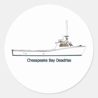 Barco de Deadrise de la bahía de Chesapeake Pegatinas Redondas