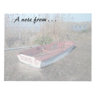 Barco de fila rústico viejo bloc de papel