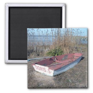 Barco de fila rústico viejo imán cuadrado