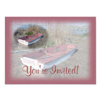 """Barco de fila rústico viejo invitación 6.5"""" x 8.75"""""""