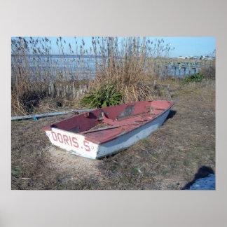 Barco de fila rústico viejo impresiones