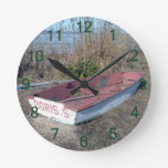 Barco de fila rústico viejo reloj de pared