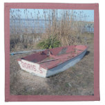 Barco de fila rústico viejo servilletas imprimidas