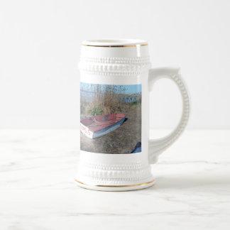 Barco de fila rústico viejo taza de café