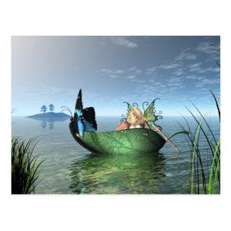 Barco de hadas de la mariposa tarjeta postal