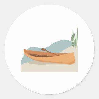 Barco de la canoa etiquetas redondas