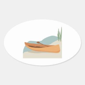 Barco de la canoa pegatina óval
