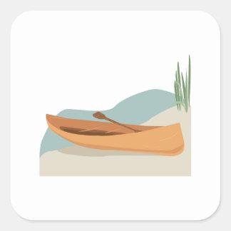 Barco de la canoa calcomania cuadradas personalizada
