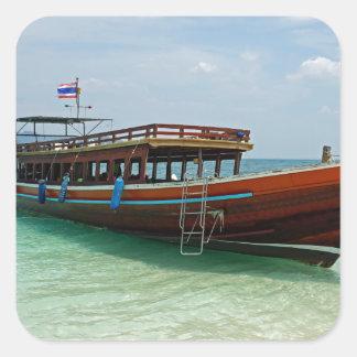 barco de la cola larga en Tailandia Pegatina Cuadrada