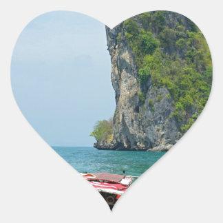 barco de la cola larga en Tailandia Pegatina En Forma De Corazón