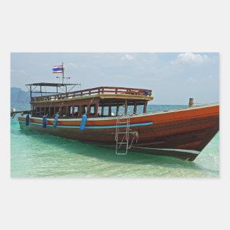 barco de la cola larga en Tailandia Pegatina Rectangular