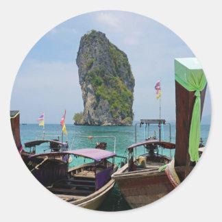 barco de la cola larga en Tailandia Pegatina Redonda