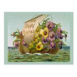 Barco de la flor del vintage postal