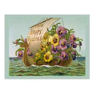 Barco de la flor del vintage postales