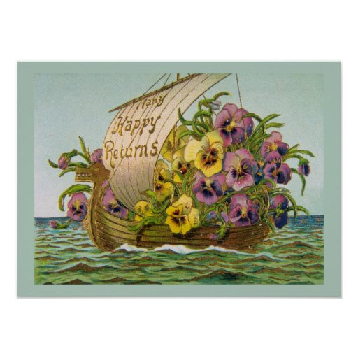 Barco de la flor del vintage poster