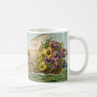 Barco de la flor del vintage taza básica blanca