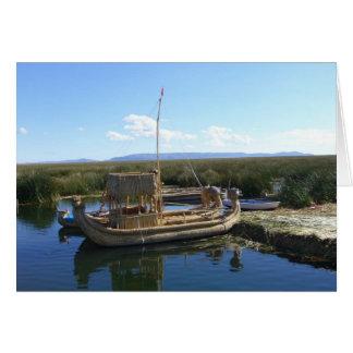 barco de la isla de los uros tarjeta de felicitación