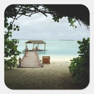 Barco de la isla de Maldivas Pegatinas Cuadradas