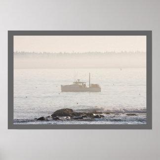 Barco de la langosta de la isla desierta Maine del Posters