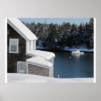 Barco de la langosta en invierno impresiones