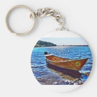 Barco de la luna de cosecha en la isla magnífica d llaveros personalizados