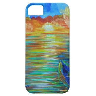 Barco de la puesta del sol sobre impresionismo del funda para iPhone 5 barely there