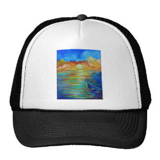 Barco de la puesta del sol sobre impresionismo del gorro