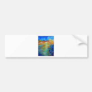 Barco de la puesta del sol sobre impresionismo del pegatina para auto