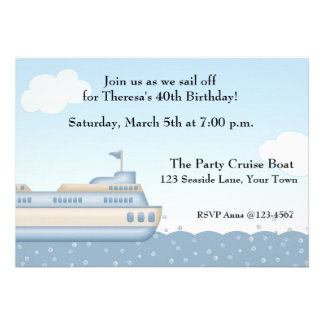 Barco de la travesía invitación temática náutica