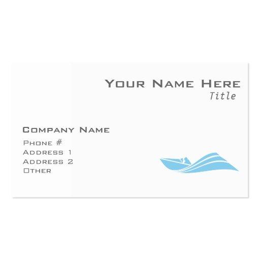 Barco de la velocidad de los azules cielos tarjetas de visita