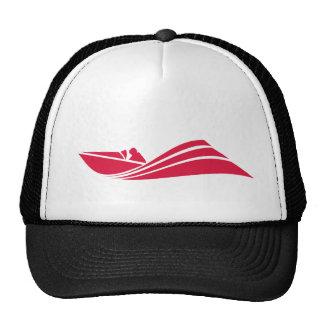 Barco de la velocidad del rojo carmesí gorras
