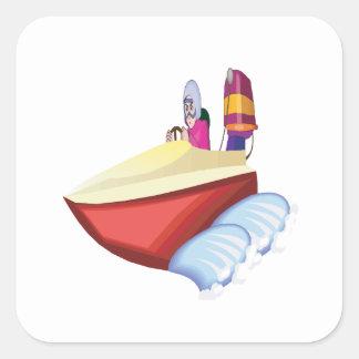 Barco de la velocidad pegatina cuadrada