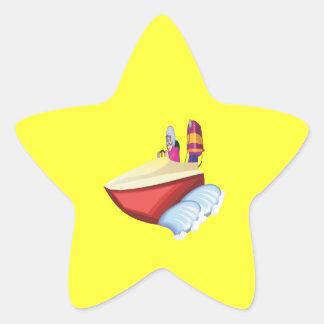 Barco de la velocidad pegatina en forma de estrella