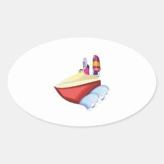 Barco de la velocidad pegatina ovalada