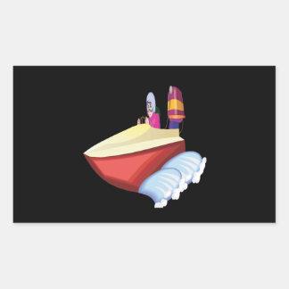 Barco de la velocidad pegatina rectangular