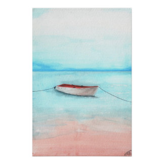 Barco de las aguas de Elafonisi Póster
