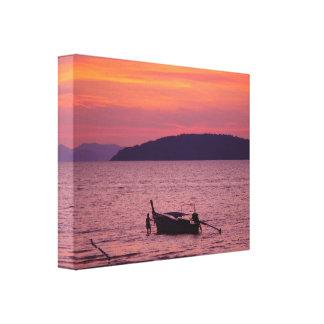 Barco de Longtail en la impresión de la lona de Ta Lienzo Envuelto Para Galerias