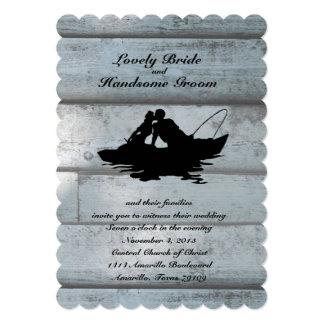 Barco de los amantes de la pesca horneado a la invitacion personalizada
