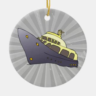 barco de lujo adorno navideño redondo de cerámica