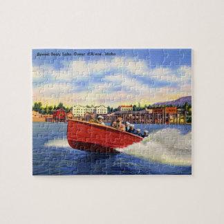 Barco de madera de la velocidad en el d'Alene de C Rompecabeza Con Fotos