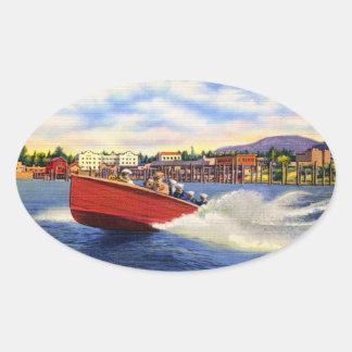 Barco de madera de la velocidad en el d'Alene de Pegatina Ovalada