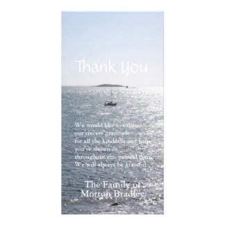 Barco de mar e isla -1 - la condolencia le tarjeta fotográfica personalizada