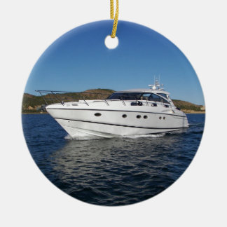 Barco de motor de lujo adorno navideño redondo de cerámica