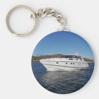 Barco de motor de lujo llavero redondo tipo pin